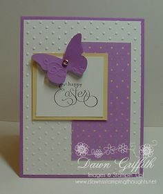 handmade Easter card ... white and lavender with a touch of pastel yellow ... butterfly .. fun font sentiment ...,