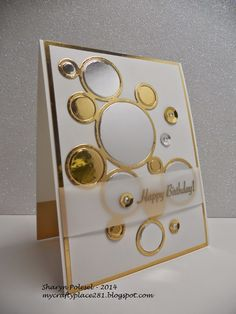 Gorgeous gold Happy Birthday card! I spy a ring frame die from SSS. Thanks Sharyn for the inspo!