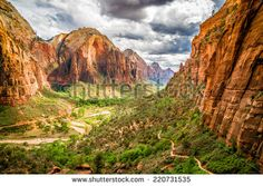 colorful landscape from zion national park utah - stock photo