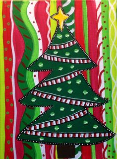 Whimsical Christmas Tree Canvas by BoogIdeas on Etsy, $20.00