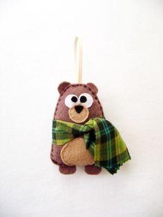 Christmas Ornament - Nester the Brown Bear - Plaid Scarf. $10.50, via Etsy.