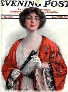 Дама с веером Vintage Vogue, Vintage Ladies, Vintage Pins, Saturday Evening Post, Norman Rockwell, Vintage Magazines, Best Artist, Coffin, Cover Art