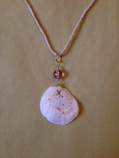 White And Purple Speckled Hawaiian Scallop Shell And Pink Czech Glass Gold Pendant Hemp Necklace, $18.00
