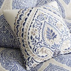 Floral Pillows, Blue Pillows, Accent Pillows, Decorative Pillows, Throw Pillows, Blue And White Bedding, Blue Duvet, Pillow Embroidery, Embroidered Cushions