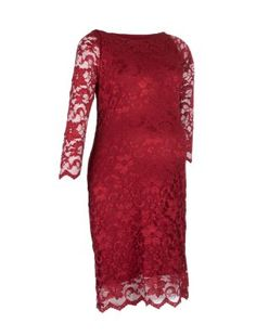 A beautiful John Zack Maternity Red Lace Dress for the holiday season from New Look