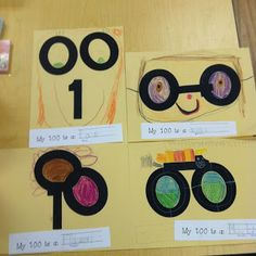 100th Day Activities--Give each student a blank piece of paper and a one and two zeros cut out in black paper.  Tell the students to create a picture with the numbers.  It could be anything they wanted to make it.  Then they glue the numbers on the paper and create their own creations.
