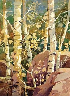 Gloria Miller Allen Watercolor Superb capturing of light on the Aspen leaves. Would draw the eye in any room. Watercolor Trees, Watercolor Paintings, Watercolours, Oil Paintings, Watercolor Negative Painting, Watercolor Artists, Indian Paintings, Abstract Paintings, Guache