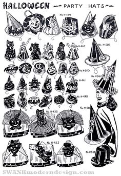 Vintage Halloween Party hats