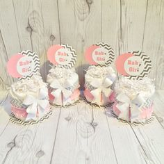 Mini Diaper Cake Centerpiece kit - Baby Pink, Gray, and White Chevron/D.I.Y. Diaper Cake/Diaper Cake Centerpieces by ChicBabyCakes on Etsy