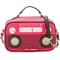 Betsey Johnson Kitsch Radio Crossbody Bag ($56) ❤ liked on Polyvore featuring bags, handbags, shoulder bags, fuchsia, cross body, betsey johnson, fuschia purse, top handle handbags and crossbody purses