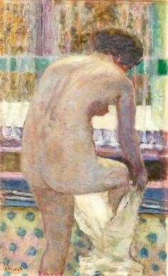 """ Pierre Bonnard Nude Drying Off (After the Bath) 1925 Oil on canvas 29 by 17 ¾ in. 74 by 45 cm "" Pierre Bonnard, Paul Gauguin, Pablo Picasso, Figure Painting, Painting & Drawing, Edouard Vuillard, Maurice Denis, Impressionist Artists, Japanese Artists"