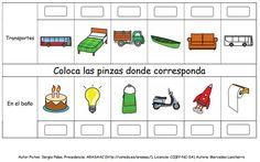 ARASAAC - Materials: TEACCH - Aprendo a clasificar vocabulario con pinzas