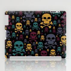Skulls iPad Case - $60.00. Worldwide shipping available at Society6.com. #ipadcase #tabletcase #skulls #skullandcrossbones #teal #yellow #plum