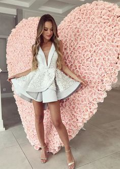 cute v-neck grey homecoming dresses with appliques, fashion semi formal party gowns, #dresses #like