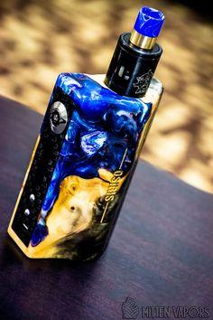 Blue & Yellow Marble Custom Vape Mod ~