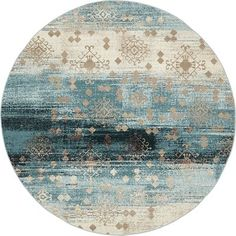 Unique Loom Modern Mirage Round Powerloomed Area Rug In Dark Blue Light Blue Area Rug, Teal Area Rug, Beige Area Rugs, Synthetic Rugs, Round Area Rugs, Cool Rugs, Blue Design, Modern Rugs, Colorful Rugs