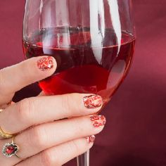 Red wine, red nails! #GoRedChallenge with Jamberry nail wraps. $15; $2 donated to the American Heart Association #GoRedForWomen #JamberryWearsRed Shop the entire collection: noelgiger.jamberry.com/us/en/shop/shop/for/nail-wraps?collection=collection%3A%2F%2F1075