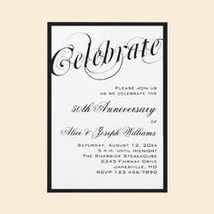 Elegant Black & White 50th Anniversary Invitations