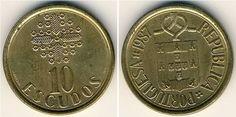 Escudo português (1911-2001) (x) 1 escudo (1986-2001) O: brasão de armas…