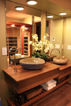 Asian Bathroom By Kelli Kaufer Designs   I Hate My Bath Au Naturale Episode    Love The Porcelain Floor And Shower Tiles That Look Like Wood, Also The  Shower ...