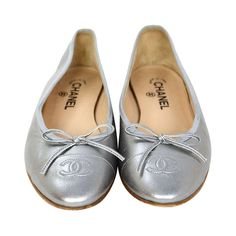 CHANEL Silver Leather Ballet Flats Sz 40 Rt. $675
