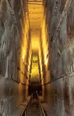 Long steep hallway in Grand pyramid, Egypt - Google Search