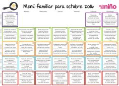 Menú mensual para niños para octubre de 2016 - Menú mensual para niños - Alimentación - Guia del Niño Healthy Menu, Healthy Kids, Kids Menu, Back To Basics, Baby Food Recipes, Meal Planning, Periodic Table, Food Porn, Lunch Box