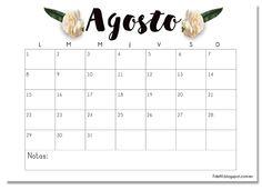 Calendario imprimible Agosto #descargable #printable