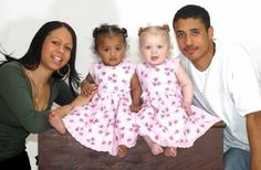 Photos of black and white twin sisters and their parents, Kylie and Remi Hodgson