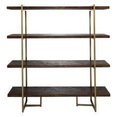 Park Avenue 4 Shelf Bookshelf Acacia Natural/Brass