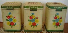 Vintage Tin 3 Piece  Range Set Jadite Primary Color Florals Salt Pepper Flour