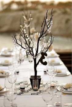 faux manzanita tree centerpieces with hanging crystals and votive candles Wedding Centerpieces, Wedding Table, Wedding Decorations, Branch Centerpieces, Manzanita Centerpiece, Centrepiece Ideas, Reception Table, Winter Centerpieces, Elegant Centerpieces