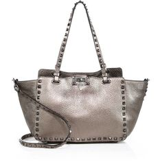 Valentino Rockstud Mini Metallic Leather Tote (3 095 AUD) ❤ liked on Polyvore featuring bags, handbags, tote bags, apparel & accessories, bronze, genuine leather tote, leather purses, leather handbag tote, leather tote purse and tote handbags
