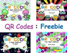 QR CODE:Freebie has four pages and each page is a sample from my QR CODES{2-digit Addition With Aliens,3-digit Subtraction With Birds,Two-digit Subtraction With Owls,3-digit Addition In Space}.This product contains 16 task cards for practicing addition and subtraction .
