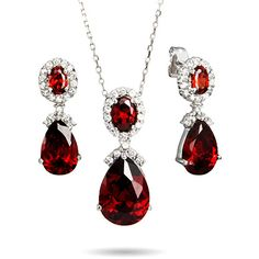 Ruby Red Peardrop CZ Necklace and Earring Set | Eve's Addiction® ($67) ❤ liked on Polyvore featuring jewelry, earrings, clear jewelry, clear crystal earrings, cz earrings, zirconia earrings and vintage style earrings