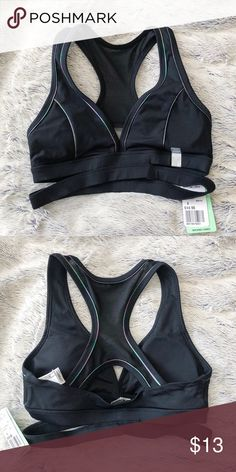 85db4a1c68bfa Forever 21 Sports Bra NWT v-neck black sports bra with mesh back and  colorful piping. Forever 21 Intimates   Sleepwear Bras
