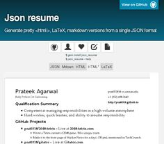 json resume generate pretty latex markdown versions from a single json format