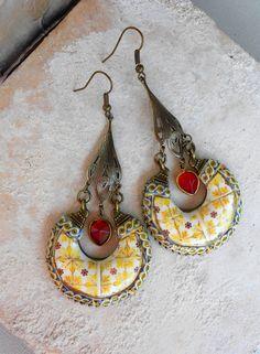 Ethnic Bohemian Gypsy Persian EARRINGs Portugal Antique by Atrio