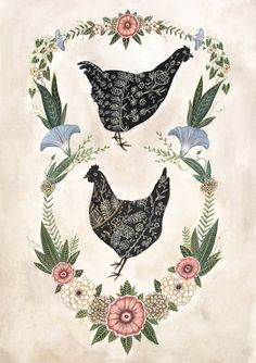 A print of the original painting Two Hens.