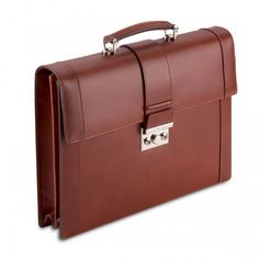Pineider Power Elegance Two Gusset Briefcase in Brown Leather  This exquisite leather briefcase from Italian heritage brand Pineider is handmade by world class artisans in Italy, using the finest Italian vegetable-tanned leather. The metal hardware is made from palladium and give this briefcase a unique and refined look.