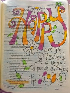 Deuteronomy Happy Saved by the Lord Bible Journaling Bible Art Scripture Doodle, Scripture Art, Bible Art, Bible Prayers, Bible Scriptures, Deuteronomy 2, Beautiful Verses, Uplifting Words, Illustrated Faith