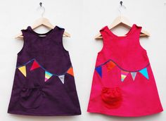 Girls rainbow bunting cord dress. $60.00, via Etsy.
