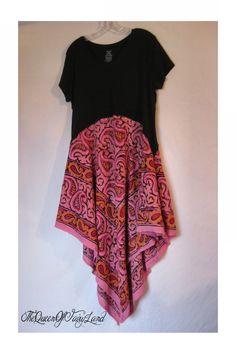 up-cycled Indian pasiley design, soft T-shirt tunic/dress, boho, junk gypsy…