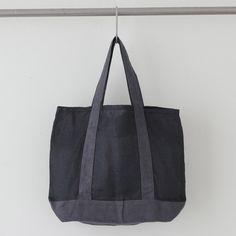 Crick & Watson - Black Herringbone Jeanine Bag Fog Linen, Linen Bag, Herringbone, Tote Bag, Bags, Totes, Fashion, Handbags, Moda