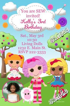Lalaloopsy Dolls Birthday Invitations -  Get these invitations RIGHT NOW. Design yourself online, download and print IMMEDIATELY! Or choose my printing services. No software download is required. Free to try!