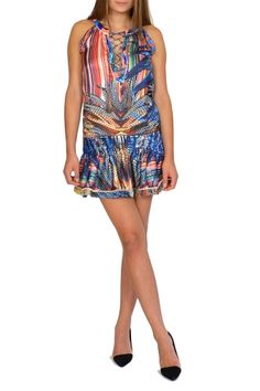 HASINA from KAS New York. HASINA is an amazing Cocktail Dress with vibrant tropical prints and a nice neckline!