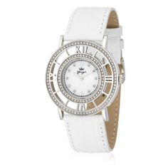 Yonger et Bresson Montres femme Les quartz - cuir blanc Montre DCC 1539/06 strassée, bracelet en cuir blanc, cadran blanc