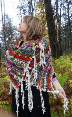 rustic handknit wool wrap shawl scarf from the by beautifulplace, $149.00