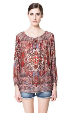 Image 1 of ETHNIC PRINT BLOUSE from Zara