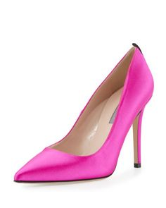 """SJP by Sarah Jessica Parker satin pump. 4"""" stiletto heel. Pointed toe. Topstitched collar. Contrast grosgrain backstay. Leather lining and sole. """"Fawn"""" is made in Italy."""